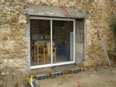 STB Grâne STB Montmeyran Marc Buffard Percement mur en pierre pour baie vitrée